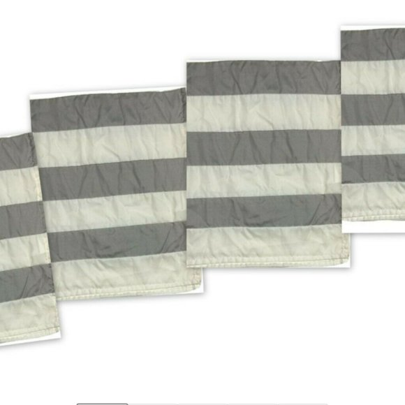 "4 Set 84"" Curtains Ivory Gray Drapes Panels Stripe"